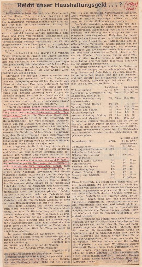 Haushaltungsgeld 1964